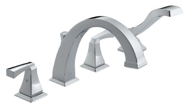 Dryden Roman Tub and Hand Shower Trim - Rigid Slip-On Diverter Spout, Chrome Plated