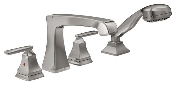 Ashlyn Roman Tub and Hand Shower Trim - Rigid Slip-On Diverter Spout, Brilliance Stainless, 1.75 GPM
