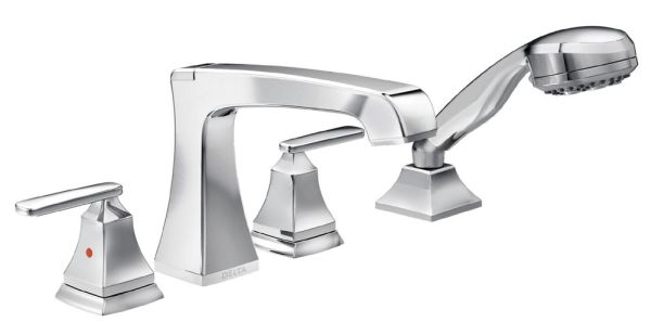 Ashlyn Roman Tub and Hand Shower Trim - Rigid Slip-On Diverter Spout, Chrome Plated, 1.75 GPM