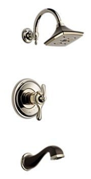 Brizo Charlotte Charlotte Tub and Shower Trim Kit - TempAssure, Single Lever Handle, Pull-Down Diverter Spout, Brilliance Polished Nickel / Cocoa Bronze, 2 GPM