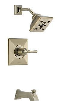 Tub and Shower Faucet with Pull-Up Diverter Spout & Single Lever Handle - VESI, Brilliance Brushed Nickel, Wall Mount, 2 GPM