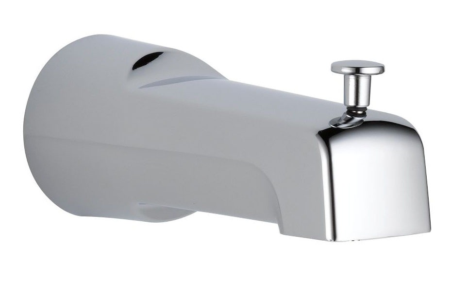 """6-1/2"""" Pull-Up Diverter Tub Spout - Chrome Plated, Metal"""
