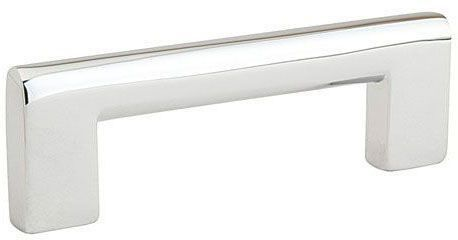 "Polished Chrome Cabinet Trail Pull - Contemporary, 4"" Center to Center, Brass"