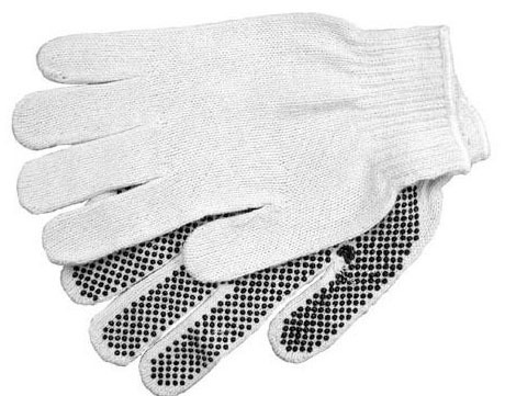 Safety Gloves, Cotton/Rubber Palm