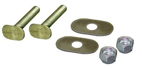 "1/4"" x 2-1/4"" Closet Bolt - with Stainless Steel Oval Washer and Nickel Plated Acorn Nut, Brass"