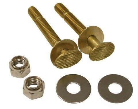 "1/4"" X 2-1/4"" Brass Snap-Off Closet Bolts W/Round Washers and Nuts (Pair)"
