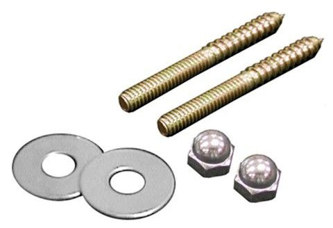 "1/4"" X 2-1/2"" Brass Plated Closet Screws W/Round Washers And Nuts (Pair)"