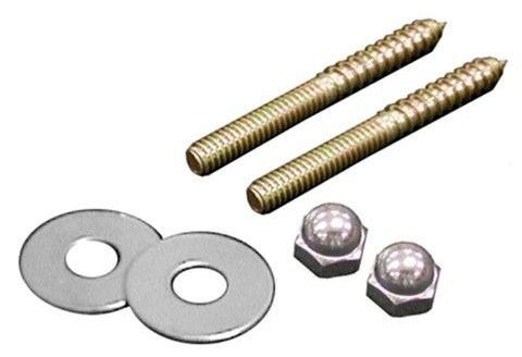 "1/4"" X 2-1/2"" Brass Closet Screws W/Round Washers And Nuts (Pair)"