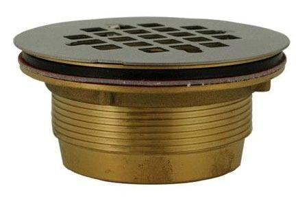 """2"""" No Caulk Brass Body Shower Drain W/Stainless Steel Strainer (140NC)"""