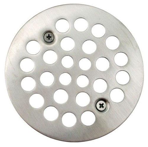 "4-1/4"" Round Shower Stall Drain Strainer, Brushed Nickel"