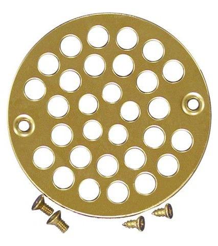 """4"""" Round Drain Strainer, Polished Brass"""
