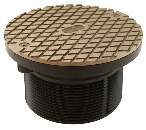 "6"" Nickel Bronze Round Cover PVC with 3-1/2"" Plastic Spud"