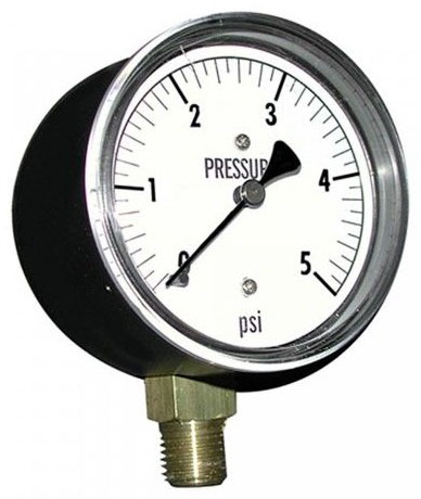 "5 Pound Gas Test Guage 1/4"" NPT Connection 2-1/2"" Face"