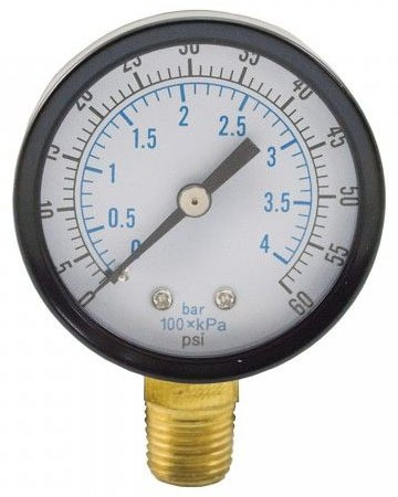 """60 PSI 3-1/2"""" Face Pressuse Guage 1/4"""" MIP Brass Connection"""