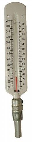 40 to 280 Degree Fahrenheit X 5 Degree Straight Pattern Steel Well Hot Water/Refrigerant Line Thermometer