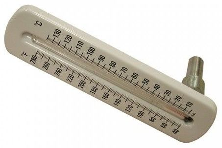 40 to 280 Degree Fahrenheit X 5 Degree Angle Pattern Brass Well Hot Water/Refrigerant Line Thermometer