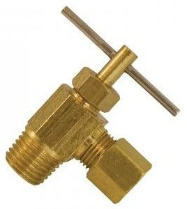 "1/4"" Compression X 1/8"" MIP Angle Compression Needle Valve"