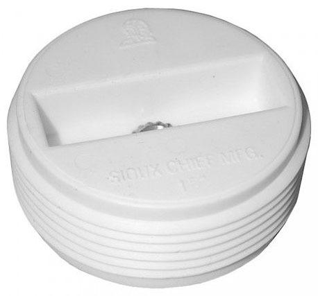 "3-1/2"" White Plastic Countersunk Cleanout Plug W/Insert"