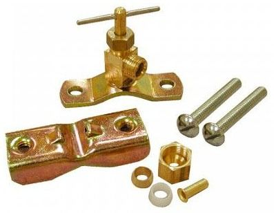 "1/4"" OD Brass Saddle Clamp With Valve for Up to 1"" Hard Copper"