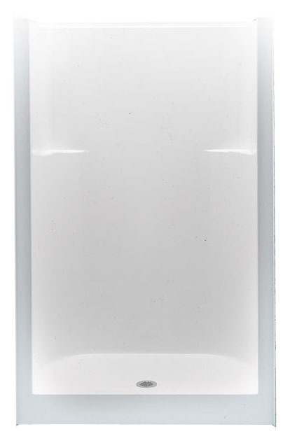 Alcove Shower Module - 1-Piece, Center Drain, Gelcoat White