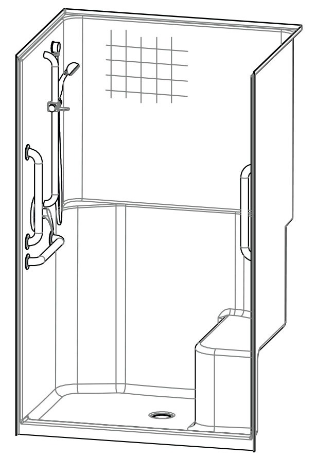 """48 X 36"""" Alcove Shower Module, Gelcoat"""