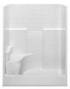 Alcove Shower Module - 1-Piece, Center Drain, Gelcoat White