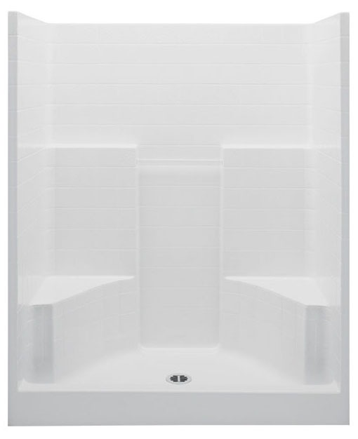 Alcove Shower Module - 1-Piece, Center Drain, Gelcoat Biscuit