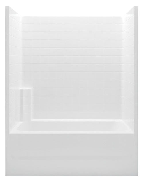 Left Hand Tub and Shower Module - White Smooth Tile