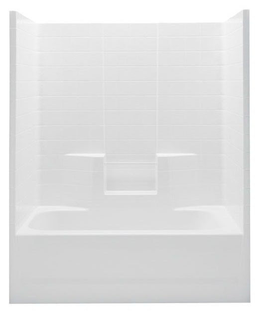 Right Hand Tub and Shower Module - Biscuit Textured Tile