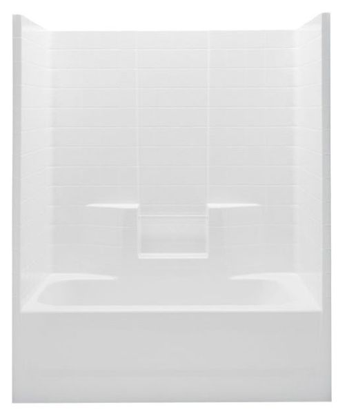 Right Hand Tub and Shower Module - White Textured Tile