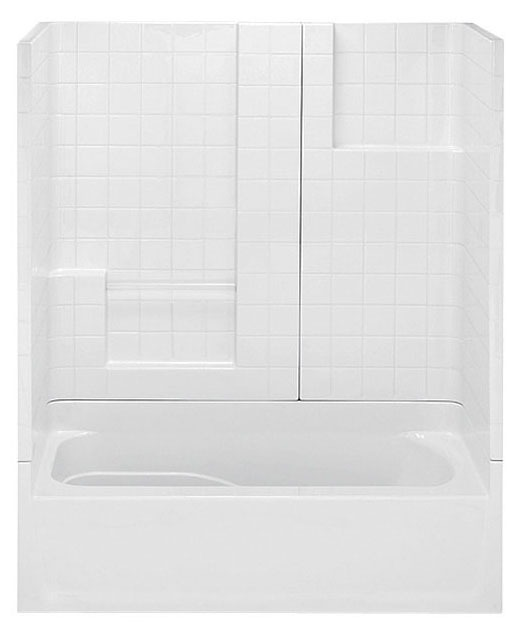 3-Piece Right Hand Tub and Shower Module - White Smooth Tile