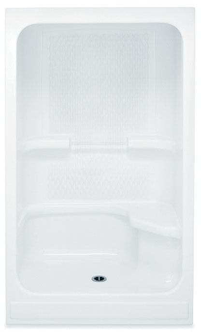 Alcove Shower Module - 1-Piece, Center Drain, Acrylic White