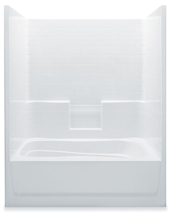Right Hand Tub and Shower Module - White Smooth Tile