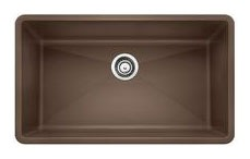"32"" x 19"" Undermount Single Bowl Kitchen Sink - BLANCO PRECIS / SILGRANIT II, Cafe Brown, Solid Granite"