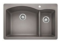 "33"" x 22"" Drop-In / Undermount Double Bowl Kitchen Sink - BLANCO DIAMOND / SILGRANIT II, Metallic Gray, Solid Granite"