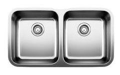 "33-1/3"" x 18-1/2"" Undermount Double Bowl Kitchen Sink - BLANCO STELLAR, Refined Brushed, Stainless Steel"