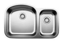 "31-3/4"" x 20-1/2"" Undermount Double Bowl Kitchen Sink - BLANCO STELLAR, Refined Brushed, Stainless Steel"