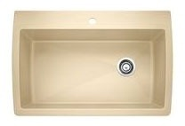 "32-1/2"" x 22"" Drop-In / Undermount Single Bowl Kitchen Sink - BLANCO DIAMOND / SILGRANIT II, Biscotti, Solid Granite"