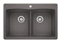 "33"" x 22"" Drop-In / Undermount Double-Equal Bowl Kitchen Sink - BLANCO DIAMOND / SILGRANIT II, Cinder, Solid Granite"