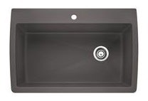 "32-1/2"" x 22"" Drop-In / Undermount Single Bowl Kitchen Sink - BLANCO DIAMOND / SILGRANIT II, Cinder, Solid Granite"
