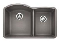 "32"" x 20-27/32"" Undermount Double Bowl Kitchen Sink - BLANCO DIAMOND / SILGRANIT II, Metallic Gray, Solid Granite"