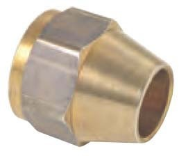 "1/2"" OD Rough Brass Short Hex Flare Tube Fitting Nut - 3/4""-16 TPI, 45D"