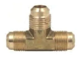 "1/2"" Rough Brass Straight Tee - 45D Flare Compression"