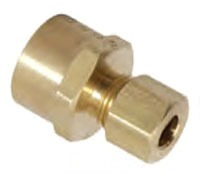 "3/8"" x 1/4"" Rough Brass Reducing Adapter - Flare FPT x Compression"