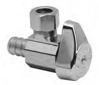 "1/2"" x 3/8"" Chrome Plated Brass Angle Stop - Crimp Barb x Compression, 125 psi"