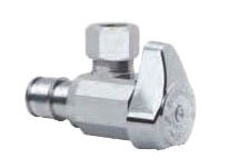 """1/2"""" x 3/8"""" Chrome Plated Brass Angle Stop - Cold Expansion Barb x Compression, 125 psi"""