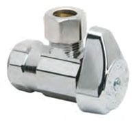 "1/2"" x 3/8"" Chrome Plated Brass Angle Stop - FPT x Compression, 125 psi"