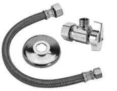 "3/8OD X 1/2COMP"" Angle Stop Faucet Supply Kit, Chrome Plated Brass Stop/Reinforced PVC Hose"