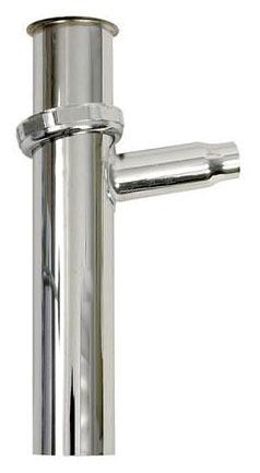 "1-1/4 X 8"" Hose Clamp/Slip Joint Tubular Tailpiece, Brass"