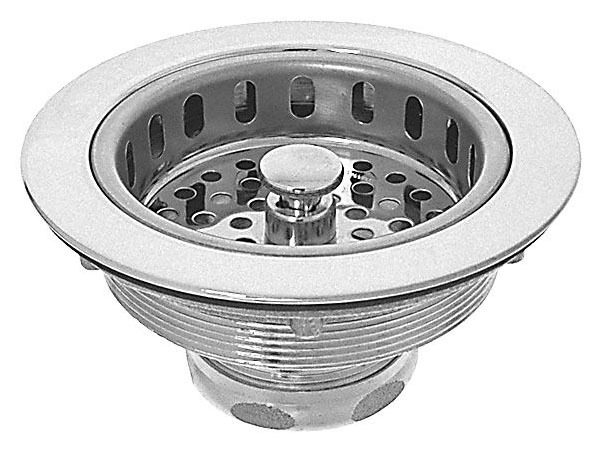 """4.33"""" Dia Sink Strainer - Chrome Plated, Solid Brass Body, Stainless Steel Basket"""
